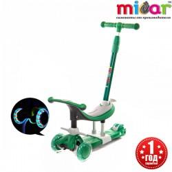 Детский трёхколёсный самокат беговел 3 в 1 с сиденьем и родительской ручкой Scooter Micar Dino Зеленый