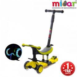 Детский трёхколёсный самокат беговел 3 в 1 с сиденьем и родительской ручкой Scooter Micar Dino Жёлтый