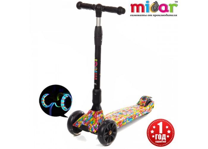 Детский складной трёхколёсный самокат со светящимися колёсами Scooter Maxi Micar Ultra Candy (Арт. RO203L)