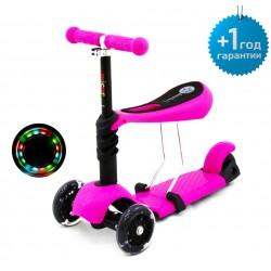 Детский трёхколёсный самокат-беговел Scooter Micar Rider 3 в 1 с сиденьем и светящимися колёсами Розовый (Арт. M1)