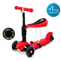 Детский трёхколёсный самокат-беговел Scooter Micar Rider 3 в 1 с сиденьем и светящимися колёсами Красный (Арт. M1)
