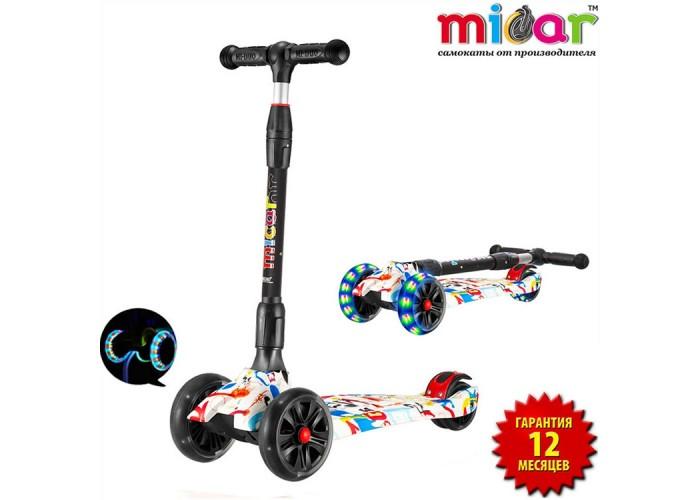 Детский складной трёхколёсный самокат со светящимися колёсами Scooter Maxi Micar Ultra Граффити (Арт. RO203L)