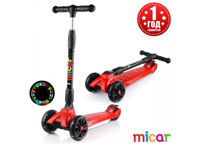 Детский складной трёхколёсный самокат со светящимися колёсами Scooter Maxi Micar Ultra Красный (Арт. RO203L)