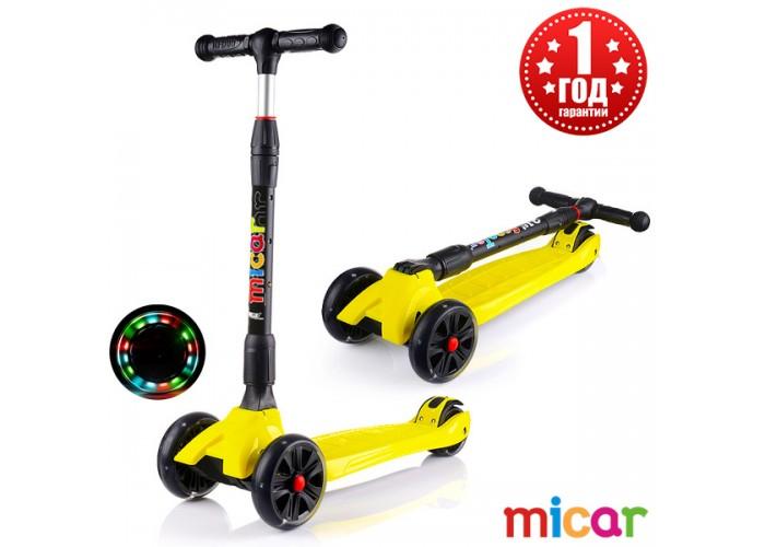 Детский складной трёхколёсный самокат со светящимися колёсами Scooter Maxi Micar Ultra Жёлтый (Арт. RO203L)